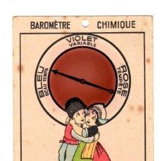 Étiquettes anciennes: TARJETA BAROMETRO QUIMICO. BAROMÈTRE CHIMIQUE. DP, PARIS.. Lote 133812535