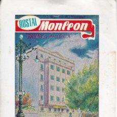 Etiquetas antiguas: ANTIGUA ETIQUETA DEL HOSTAL MONLEON DE PALMA DE MALLORCA . Lote 135157282