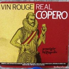 Etiquetas antiguas: ETIQUETA VINO VIN ROUGE REAL COPERO PRESTIGIO DE ESPAÑA, VALENCIA. Lote 135426490