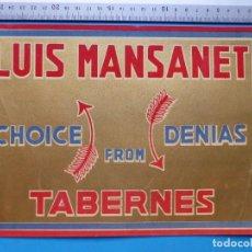 Etiquetas antiguas: ANTIGUA ETIQUETA DE NARANJAS - LUIS MANSANET, TABERNES, VALENCIA. Lote 135509894