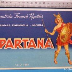 Etiquetas antiguas: ANTIGUA ETIQUETA DE NARANJAS - ESPARTANA, BAUTISTA FRANCH RIPOLLES, GANDIA, VALENCIA. Lote 135511386