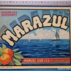 Etiquetas antiguas: ANTIGUA ETIQUETA DE NARANJAS - MARAZUL, MANUEL USO, VALENCIA . Lote 135681327