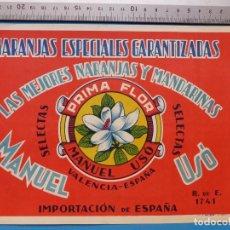 Etiquetas antiguas: ANTIGUA ETIQUETA DE NARANJAS - PRIMA FLOR, MANUEL USO, VALENCIA . Lote 135681659