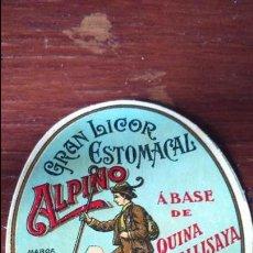 Etiquetas antiguas: ETIQUETA LICOR ESTOMACAL ALPINO ARENYS DE MUNT . Lote 135776034