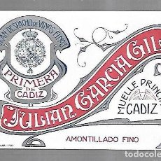 Etiquetas antiguas: ETIQUETA DE VINO. AMONTILLADO FINO. JULIAN GARCIA GIL. PRIMERA DE CADIZ. 13 X 9.5CM. VER. Lote 136027382