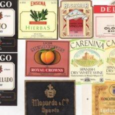 Etiquetas antiguas: BONITO LOTE DE 85 ETIQUETAS DE VINOS Y LICORES. Lote 136258510