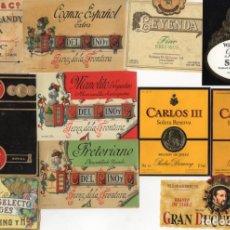 Etiquetas antiguas: BONITO LOTE DE 87 ETIQUETAS DE VINOS Y LICORES. Lote 136305190