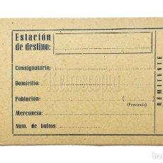 Etiquetas antiguas: ANTIGUA ETIQUETA PARA IDENTIFICAR EL EQUIPAJE. IDENTIFICACIÓN MALETAS. SIN RELLENAR. Lote 136639758