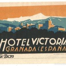 Etiquetas antiguas: HOTEL VICTORIA GRANADA ANTIGUA ETIQUETA ORIGINAL AÑOS 30 ART DECO MBE LIT PAULINO Y TRAVESET. Lote 141905048