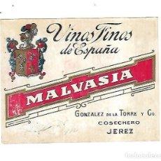 Etiquetas antiguas: ANTIGUA ETIQUETA. VINOS FINOS DE ESPAÑA. MALVASIA. GONZALEZ DE LA TORRE Y CO. JEREZ. 14 X 11CM. Lote 137705426