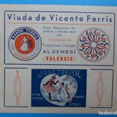 Etiquetas antiguas: ANTIGUA PUBLICIDAD DE NARANJAS - VIUDA DE VICENTE FERRIS, ALGEMESI, VALENCIA - AÑOS 1920-30. Lote 139091786