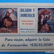 Etiquetas antiguas: ANTIGUA PUBLICIDAD DE NARANJAS - RICARDO Y DOMENECH, RAFELGUARAF, VALENCIA - AÑOS 1920-30. Lote 139092006
