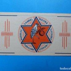 Etiquetas antiguas: ANTIGUA PUBLICIDAD DE NARANJAS - GABRIEL ROVIRA, PUEBLALARGA, VALENCIA - AÑOS 1920-30. Lote 139092182