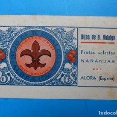 Etiquetas antiguas: ANTIGUA PUBLICIDAD DE NARANJAS - HIJO DE B. HIDALGO, ALORA, VALENCIA - AÑOS 1920-30. Lote 139092434