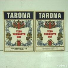 Étiquettes anciennes: 2X ETIQUETA PAPEL - TARONA VINO VERMOUTH DRY - BODEGAS TESCHENDORFF & CO - VALENCIA ¡¡NUEVAS¡¡ . Lote 140384930