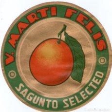 Etiquetas antiguas: ETIQUETA DE NARANJAS DE SAGUNTO REDONDO 185 MM.. Lote 140947678