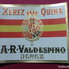 Etiquetas antiguas: ETIQUETA. XEREZ. QUINA. A.R. VALDESPINO Y HNO. JEREZ. Lote 141603250