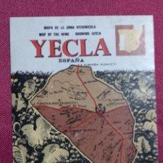 Etiquetas antiguas: ETIQUETA . MAPA DE LA ZONA VITIVINICOLA. YECLA. MURCIA. Lote 141611122