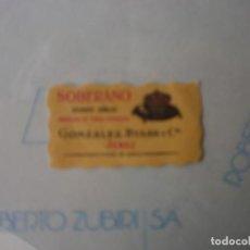 Etiquetas antiguas: PEQUEÑA ETIQUETA BRANDY SOBERANO NUEVA. Lote 141661394