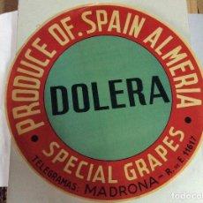 Etiquetas antiguas: ANTIGUA ETIQUETA PARA BARRILES DE UVAS JOSE DOLERA MONTIEL ALMERIA. Lote 142587882