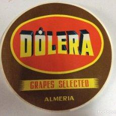 Etiquetas antiguas: ANTIGUA ETIQUETA PARA BARRILES DE LA UVAS JOSE DOLERA MONTIEL ALMERIA. Lote 142588086