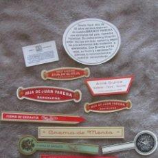 Etiquetas antiguas: LOTE 13 ETIQUETAS DESTILERIAS PARERA. Lote 142924422