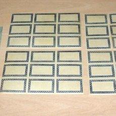 Etiquetas antiguas: 35 ETIQUETAS ENGOMADAS Y PERFORADAS 6.5 X 4.5 CM. Lote 143225422