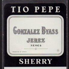 Etiquetas antiguas: ETIQUETA DE VINO TIO PEPE - GONZALEZ BYASS, JEREZ. SHERRY - ET-1674,2. Lote 143742262