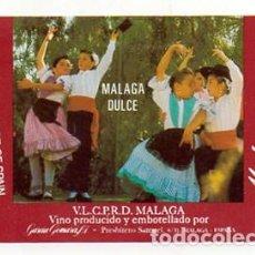 Etiquetas antiguas: ETIQUETA DE VINO MALAGA DULCE MALAGUEÑAS - V.L.C.P.R.D. MALAGA, GARCIA GOMARA, S.A. - ET-1675,12. Lote 143742882