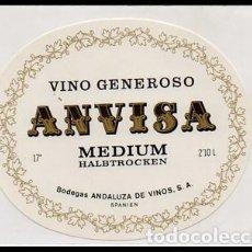 Etiquetas antiguas: ETIQUETA DE VINO GENEROSO ANVISA MEDIUM HALBTROCKEN - BODEGAS ANDALUZAS DE VINOS, S.A. - ET-1676,7. Lote 143743394