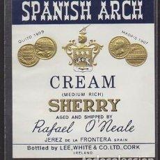 Etiquetas antiguas: ETIQUETA DE VINO CREAM (MEDIUM RICH) SHERRY SPANISH ARCH - RAFAEL O'NEALE - JEREZ - ET-1677,6. Lote 143743898