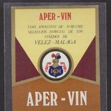 Etiquetas antiguas: ETIQUETA DE VINO APER - VIN, VELEZ - (MALAGA ) DOMINGO HEREDIA RODRIGUEZ - ET-1682,11. Lote 143747514