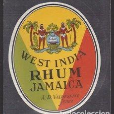 Etiquetas antiguas: ETIQUETA DE WEST INDIA RHUM JAMAICA - A.R. VALDESPINO, JEREZ - ET-1685,6. Lote 143748994