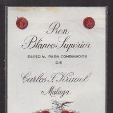 Etiquetas antiguas: ETIQUETA DE RON BLANCO SUPERIOR ESPECIAL COMBINADOS DE CARLOS J. KRAUEL - MALAGA - ET-1686,4. Lote 143749398