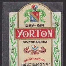 Etiquetas antiguas: ETIQUETA DE DRY-GIN YORTON GINEBRA SECA DESTILERIAS J. BARCELO - MALAGA - ET-1687,13. Lote 143749790