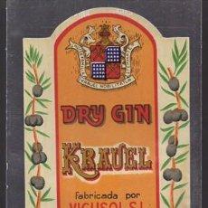Etiquetas antiguas: ETIQUETA DE DRY-GIN KRAUEL (ESPECIAL COMBINADOS) FABRICADA POR VICUSOL - MALAGA - ET-1688,9. Lote 143750826