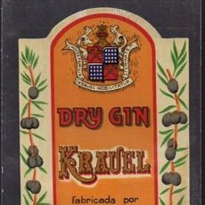Etiquetas antiguas: ETIQUETA DE DRY-GIN KRAUEL (ESPECIAL COMBINADOS) FABRICADA POR VICUSOL - MALAGA - ET-1689. Lote 143751246