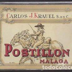 Etiquetas antiguas: ETIQUETA DE VINO POSTILLON (MALAGA) - CARLOS J.KRAUEL S. EN C. - ET-1690,10. Lote 143751610