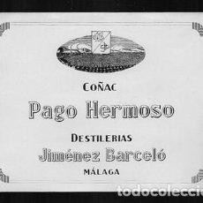 Etiquetas antiguas: ETIQUETA DE COÑAC PAGO HERMANO - DESTILERIAS JIMENEZ BARCELO (MALAGA) - ET-1693,9. Lote 143753150
