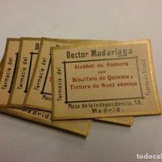Etiquetas antiguas: 6 ETIQUETAS ANTIGUAS FARMACIA ALCOHOL DE ROMERO. D. MADARIAGA.. Lote 143919606