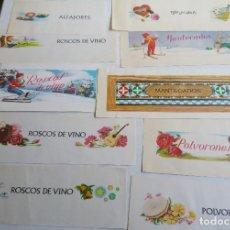 Etiquetas antiguas: LOTE DE 39 ETIQUETAS DE MANTECADOS, POLVORONES, ALFAJORES, ROSCOS DE VINO, MANTECADOS ESTEPA.... Lote 144101114