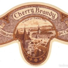 Etiquetas antiguas: ANTIGUA ETIQUETA: CHERRY BRANDY - LIQUEUR EXTRA FINE - DE L´ABBAYE DE CRAUX. Lote 144326586