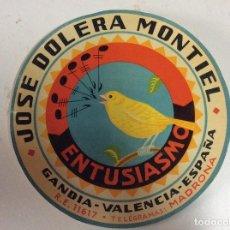 Etiquetas antiguas: ANTIGUA ETIQUETA PARA BARRILES DE UVAS JOSE DOLERA MONTIEL. Lote 258853130