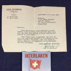 Etiquetas antiguas: ETIQUETA INTERLAKEN HOTEL METROPOLE CARTA REMITIENDO ETIQUETAS JEFE RECEPCION 1956 . Lote 145567210