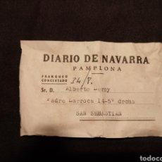 Etiquetas antiguas: ETIQUETA SUSCRIPCIÓN DIARIO DE NAVARRA. AÑOS 50. ALBERTO LEROY, SAN SEBASTIÁN. Lote 145916134