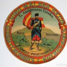 Etiquetas antiguas: VINO MALAGA SECO - EL ABANDERADO ESPAÑOL - ETIQUETA GRAN TAMAÑO. Lote 217684012