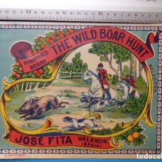 Etiquetas antiguas: 10 ANTIGUAS ETIQUETAS DE NARANJAS IGUALES - THE WILD BOAR HUNT - JOSE FITA - VALENCIA. Lote 146870906