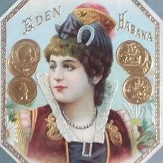 Etiquetas antiguas: HABILITACIÓN. ETIQUETA LITOGRÁFICA. FÁBRICA DE TABACOS EDÉN. LA HABANA. CUBA. CERCA 1900.. Lote 147032378