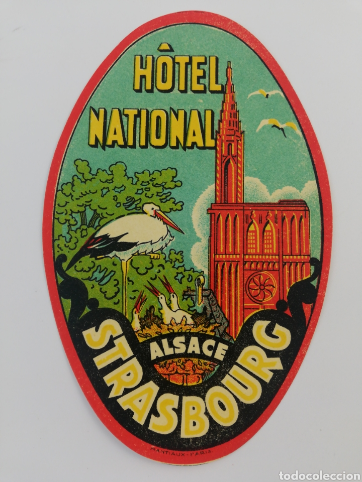 ANTIGUA ETIQUETA HOTEL NATIONAL, STRASBOURG ESTRASBURGO FRANCIA, LUGGAGE LABEL. (Coleccionismo - Etiquetas)