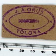 Etiquetas antiguas: ETIQUETA DROGUERÍA J A ORUS TOLOSA. AÑOS 50. Lote 147266301